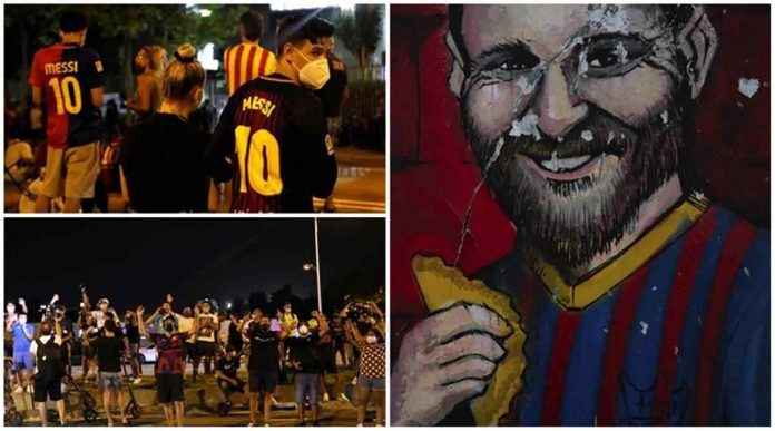 Barcelona fans have gathered in front of Camp Nou to protest