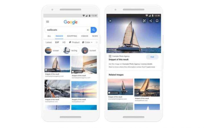 Google has begun displaying licensing information in image search results