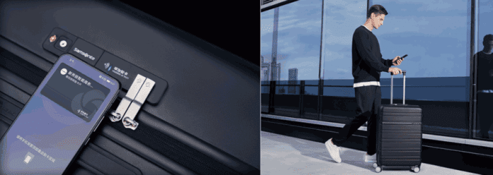 Huawei smart suitcase with a smartphone key, battery and USB port