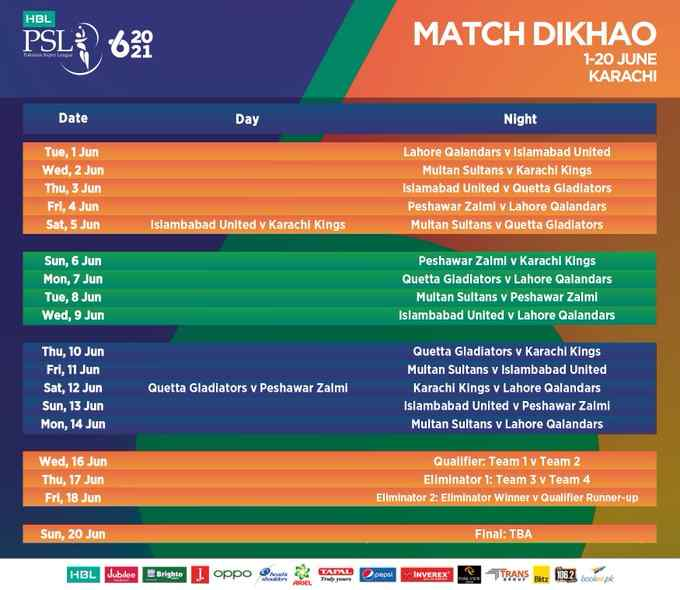 PSL 2021 Remaining Matches Schedule