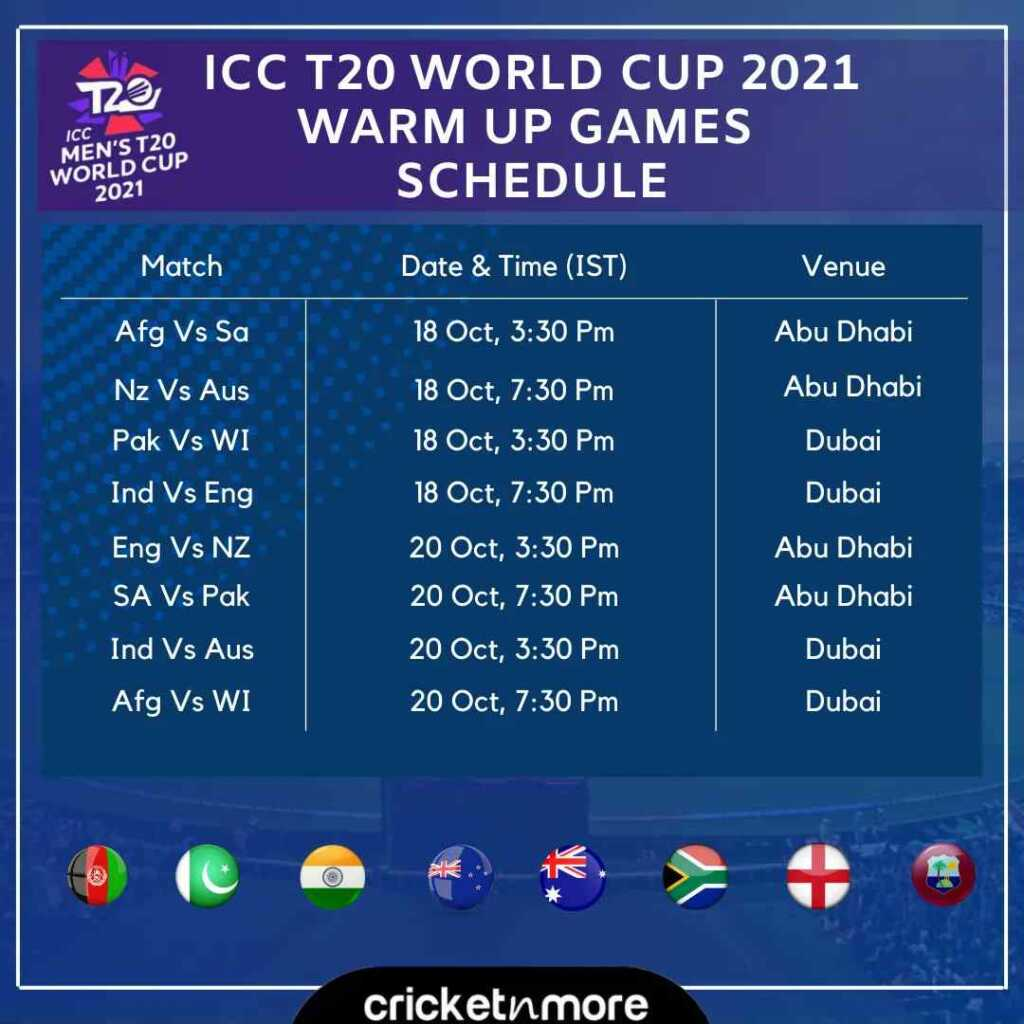 T20 World Cup 2021 Warm-Up Matches Live Streaming